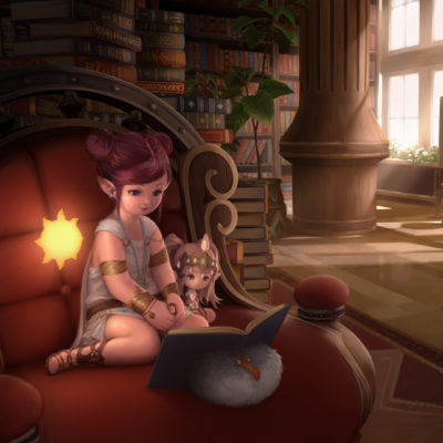 A lounging lalafell, intent on reading a book in her elaborate library.