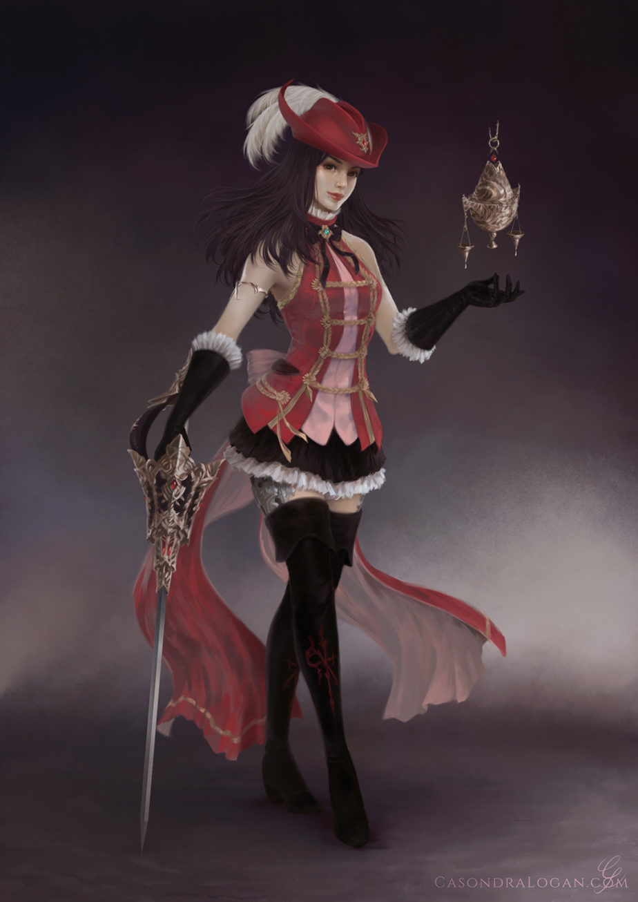 A human red mage, proudly posing.