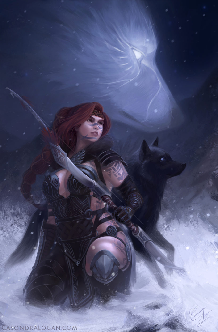 Eir Stegalkin, hunting with Garm, guided by Wolf Spirit. High Priestess of Tyrian Tarot.